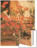 Red Geraniums Wood Print by Childe Hassam