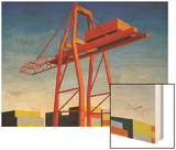 Crane with Containers Wood Print by Mary Iverson