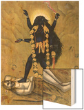 Hindu Goddess Kali Dancing on Siva Wood Print