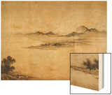 Detail Showing Mountains and Water from a Jin or Yuan Dynasty Painting entitled Clear Weather in th Wood Print by Dong Yuan