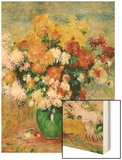 Bouquet of Chrysanthemums Wood Sign by Renoir Pierre-Auguste