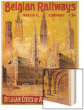 Belgian Railways - Belgian Cities of Art Poster Wood Print by S. Rader