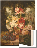 A Vase of Summer Flowers and Fruit on a Ledge in a Landscape Wood Print by William John Wainwright