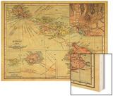 1912, Hawaii State Map, Hawaii, United States Wood Print