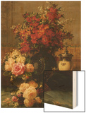 Still Life of Roses and Other Flowers Wood Print by Jean Baptiste Claude Robie