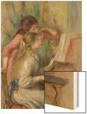 Young Girls at the Piano, circa 1890 Wood Print by Pierre-Auguste Renoir