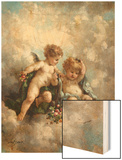 Cherubs in the Clouds Wood Print by Charles Lutyens