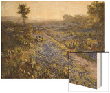 Field of Texas Bluebonnets and Prickly Pear Cacti Wood Print by Julian Robert Onderdonk