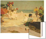 On the Beach Wood Print by Edward Henry Potthast