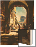 At the Entrance to the Temple Mount, Jerusalem Wood Print by Gustav Bauernfeind