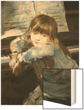 Girl before the Piano Wood Print by Francesc Torrescassana