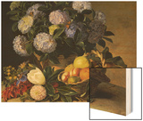 Hydrangea in an Urn and a Basket of Fruit on a Ledge Wood Print by Johan Laurentz Jensen