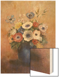 Bouquet of Flowers in a Blue Vase Wood Print by Redon Odilon