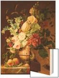 Roses, a Tulip, a Peony, Marigolds, Hollyhocks Wood Print by Johannes Hendrik Fredriks