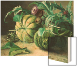 A Still Life of Pumpkins and Artichokes Wood Print by Carl Vilhelm Balsgaard