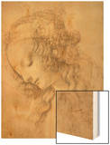 Study for the Face of the Virgin Mary of the Annunciation Now in the Louvre Wood Print by  Leonardo da Vinci