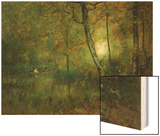 Pool in the Woods Wood Print by George Innes