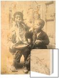 Two Neapolitan Children Slurp Down Spaghetti Wood Print
