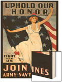 Uphold Our Honor, Join Army, Navy, Marines Wood Print