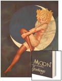 Blue Moon Silk stockings, Womens Glamour Pin-Ups Nylons Hosiery, USA, 1920 Wood Print