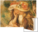 Two Girls Drawing Wood Sign by Renoir Pierre-Auguste