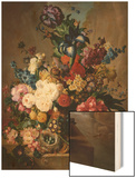 Poppies, Peonies and Other Assorted Flowers in a Terracotta Vase on a Stone Plinth with a Bird's Ne Print by Jan van Os