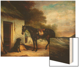 Mr Stuart's Favourite Hunter, Vagabond and His Flatcoated Retriever, Nell by a Cottage Door Wood Print by Sr, John Ferneley