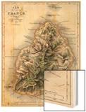 """Map of Mauritius, Illustration from """"Paul et Virginie"""" by Henri Bernardin de Saint-Pierre, 1836 Wood Print by A.h. Dufour"""
