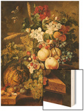 Fruit and Flowers on Marble Ledges, 1812 Wood Print by Jacobus Linthorst
