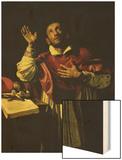 St. Carlo Borromeo, circa 1610 Wood Print by Orazio Borgianni