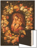 Madonna and Child within a Garland of Flowers Wood Print by Jan Breugel the Elder