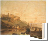 A View of Heidelberg and the River Neckar Wood Print by Francois Antoine Bossuet
