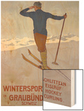 Wintersport in Graubunden, 1906 Wood Print by Walter Koch