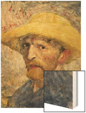 Self-Portrait with a Straw Hat Wood Print by Vincent van Gogh