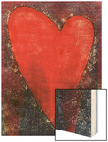 Red Heart Shape Wood Print