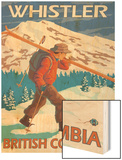 Skier Carrying Snow Skis, Whistler, BC Canada Wood Print by  Lantern Press