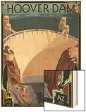 Hoover Dam Aerial Wood Print by  Lantern Press