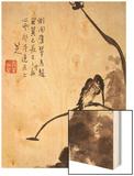 Lotus and Bird Wood Print by Bada Shanren