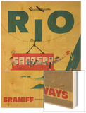 Braniff International Airways Travel Poster, Rio De Janiero Cable Car Wood Print