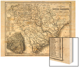 1833, South Carolina Railroad and Transport Map, South Carolina, United States Posters