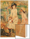 Children on the Seashore, Guernsey Wood Sign by Renoir Pierre-Auguste