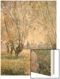 Woman Seated under the Willows Wood Print by Monet Claude