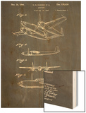 Howard Hughes Airplane Patent Wood Print