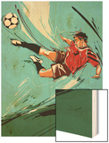 Man Kicking a Soccer Ball Wood Print
