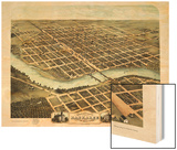 1869, Kankakee Bird's Eye View, Illinois, United States Wood Print
