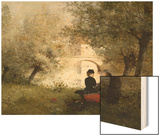 Along the River Wood Print by Jules Frederic Ballavoine
