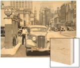 Broad and Pine, Gas Station Looking North, Philadelphia, Pennsylvania Wood Print