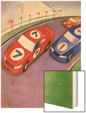 Car Race with Spectators Wood Print