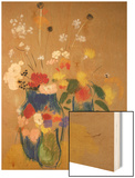 Three Vases of Flowers Wood Print by Redon Odilon