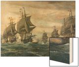 Battle of Virginia Capes Wood Print by V. Zveg